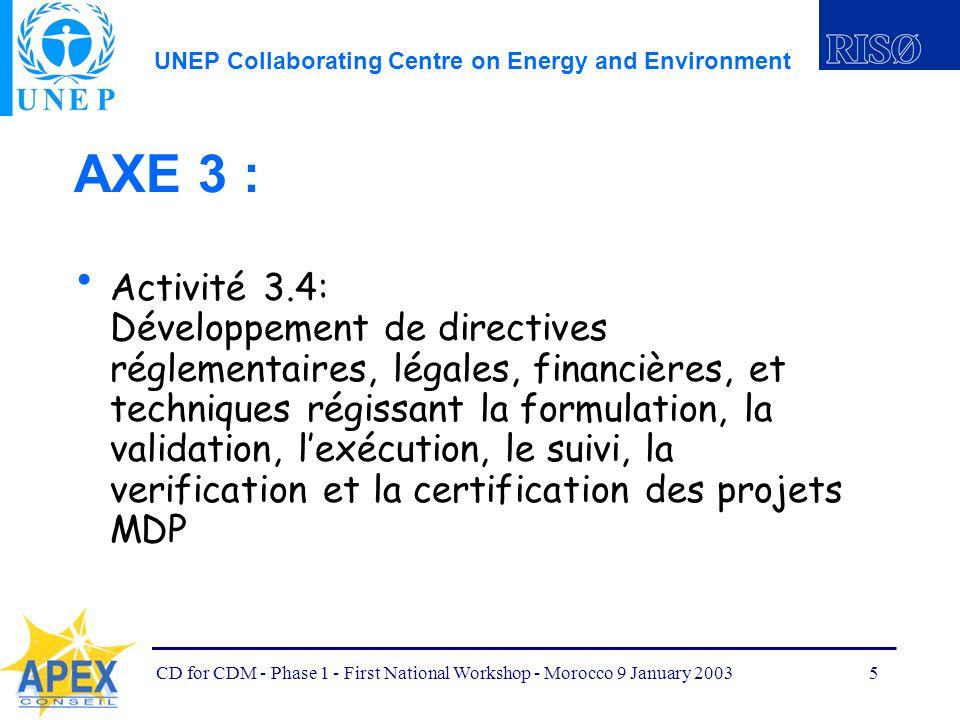 UNEP Collaborating Centre on Energy and Environment CD for CDM - Phase 1 - First National Workshop - Morocco 9 January 20036 AXE 3 : Activité 3.5: Développement de directives définissant et projetant les paramètres des lignes de base nationale, sectorielles, par projet, ainsi que les principes de ladditionalité