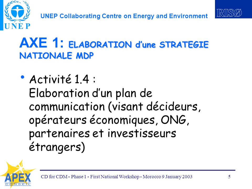 UNEP Collaborating Centre on Energy and Environment CD for CDM - Phase 1 - First National Workshop - Morocco 9 January 20035 ELABORATION dune STRATEGIE NATIONALE MDP AXE 1: ELABORATION dune STRATEGIE NATIONALE MDP Activité 1.4 : Elaboration dun plan de communication (visant décideurs, opérateurs économiques, ONG, partenaires et investisseurs étrangers)