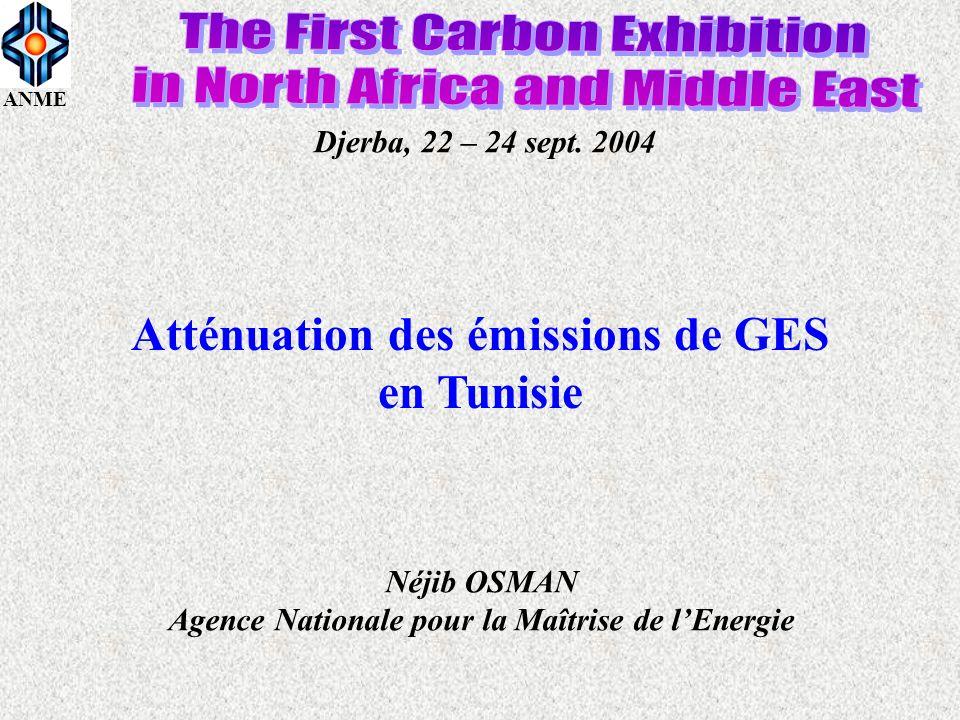 ANME Djerba, 22 – 24 sept. 2004 Atténuation des émissions de GES en Tunisie Néjib OSMAN Agence Nationale pour la Maîtrise de lEnergie