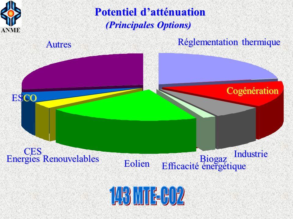 ANME Efficacité énergétique Energies Renouvelables 25 % 75 % Cogénération Réglementation thermique Industrie Biogaz Eolien CES ESCO Autres Potentiel d