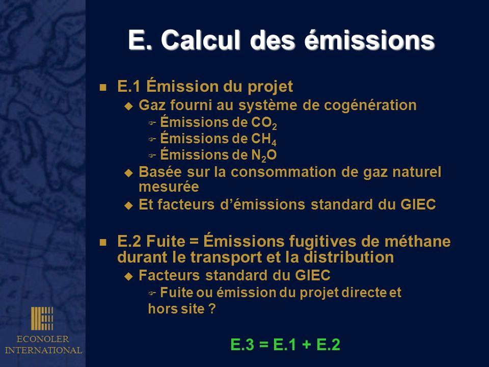 ECONOLER INTERNATIONAL E. Calcul des émissions n E.1 Émission du projet u Gaz fourni au système de cogénération F Émissions de CO 2 F Émissions de CH