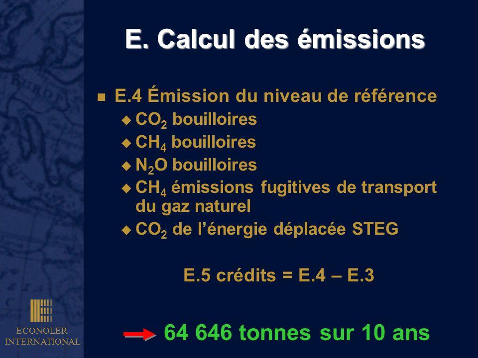ECONOLER INTERNATIONAL E. Calcul des émissions n E.4 Émission du niveau de référence u CO 2 bouilloires u CH 4 bouilloires u N 2 O bouilloires u CH 4