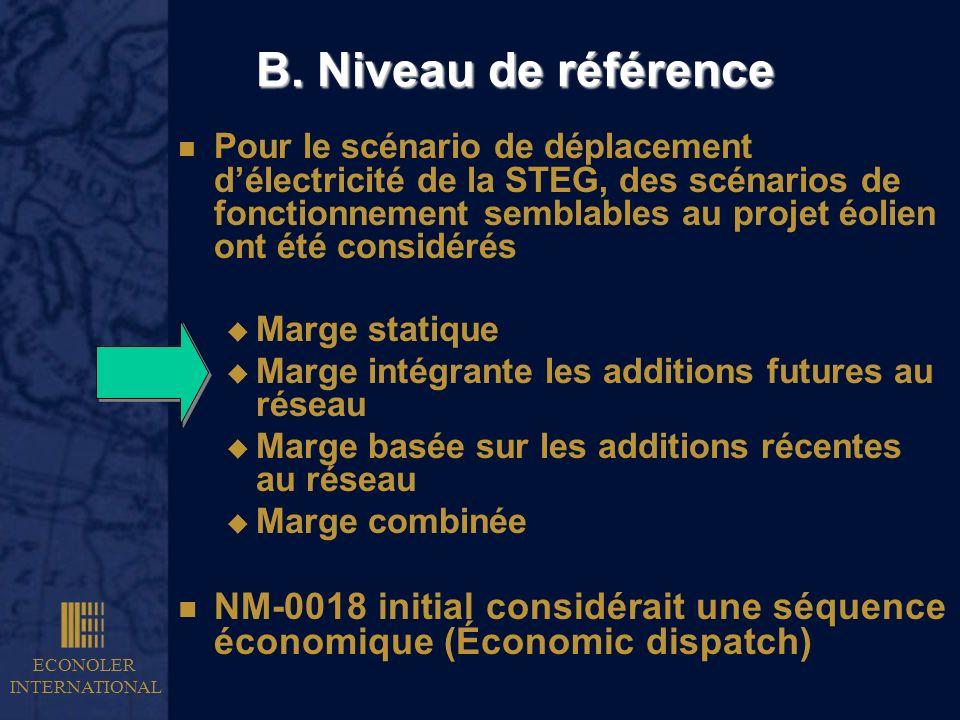 ECONOLER INTERNATIONAL B. Niveau de référence n Pour le scénario de déplacement délectricité de la STEG, des scénarios de fonctionnement semblables au