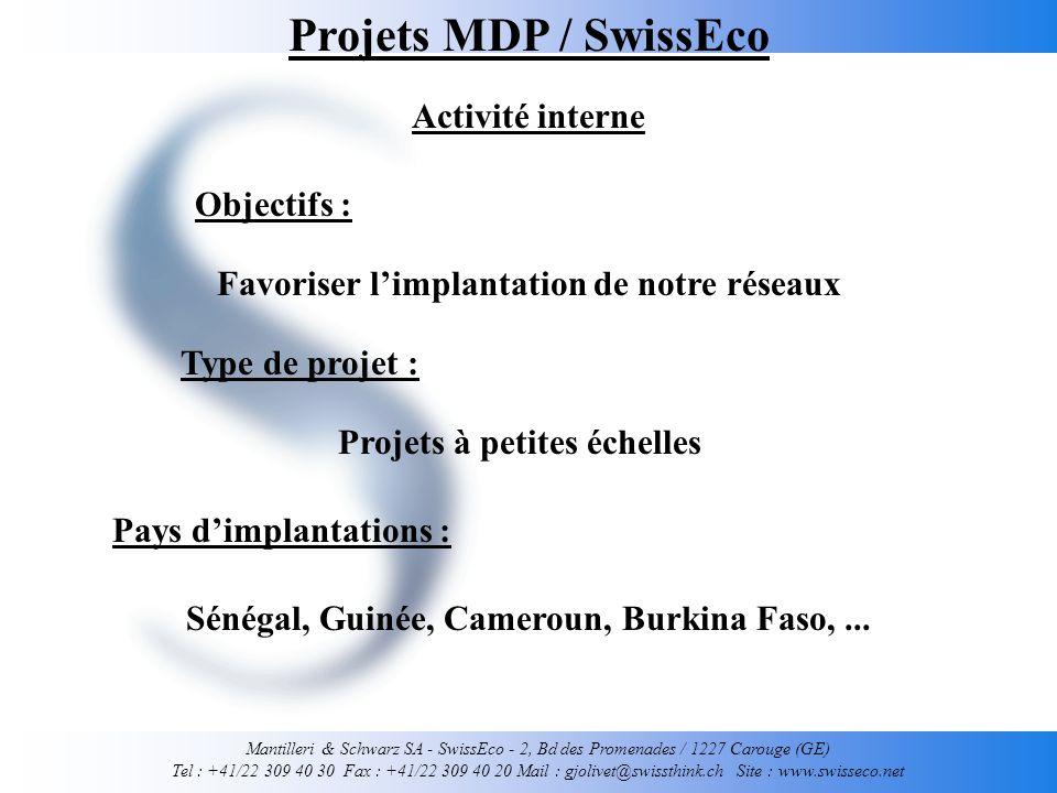 Mantilleri & Schwarz SA - SwissEco - 2, Bd des Promenades / 1227 Carouge (GE) Tel : +41/22 309 40 30 Fax : +41/22 309 40 20 Mail : gjolivet@swissthink.ch Site : www.swisseco.net Projets à petites échelles Projets MDP / SwissEco Activité interne Sénégal, Guinée, Cameroun, Burkina Faso,...