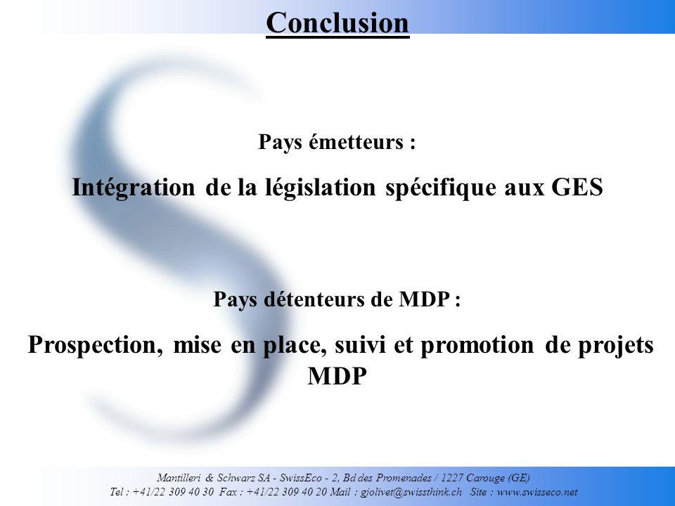 Mantilleri & Schwarz SA - SwissEco - 2, Bd des Promenades / 1227 Carouge (GE) Tel : +41/22 309 40 30 Fax : +41/22 309 40 20 Mail : gjolivet@swissthink.ch Site : www.swisseco.net Conclusion Pays émetteurs : Intégration de la législation spécifique aux GES Pays détenteurs de MDP : Prospection, mise en place, suivi et promotion de projets MDP