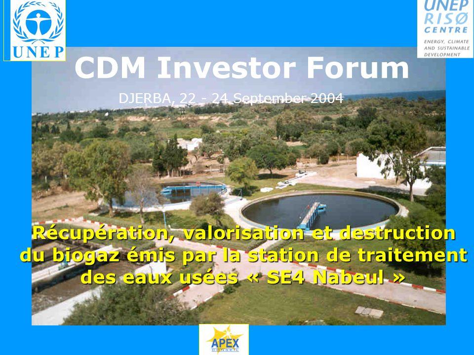Récupération, valorisation et destruction du biogaz émis par la station de traitement des eaux usées « SE4 Nabeul » CDM Investor Forum DJERBA, 22 - 24