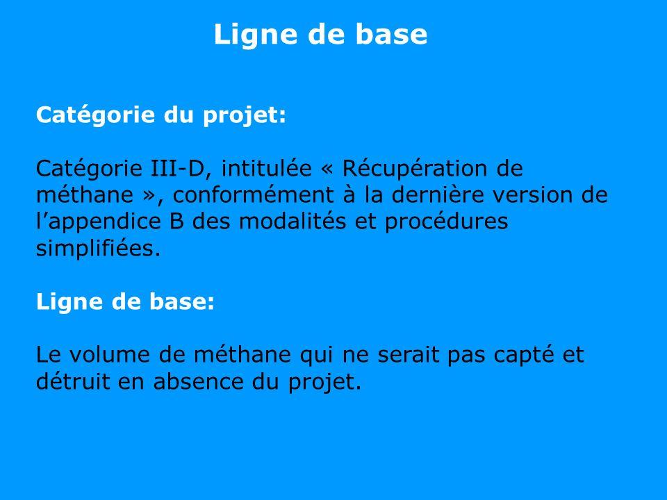 Catégorie du projet: Catégorie III-D, intitulée « Récupération de méthane », conformément à la dernière version de lappendice B des modalités et procé