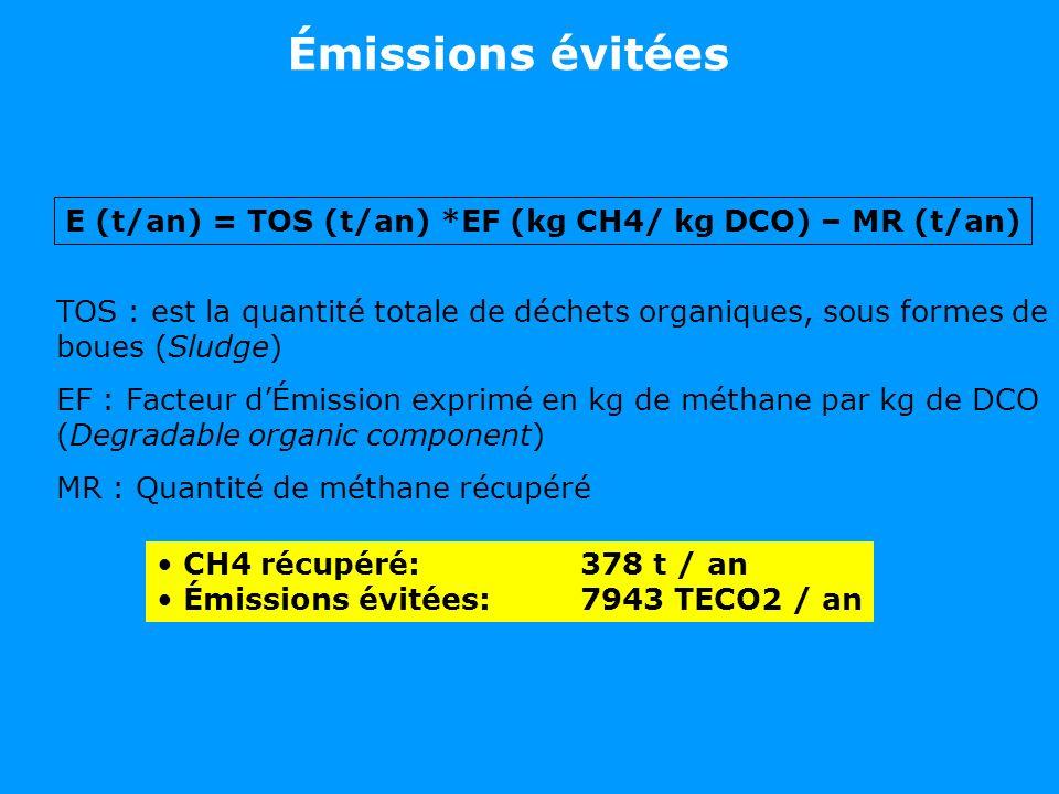 E (t/an) = TOS (t/an) *EF (kg CH4/ kg DCO) – MR (t/an) TOS : est la quantité totale de déchets organiques, sous formes de boues (Sludge) EF : Facteur