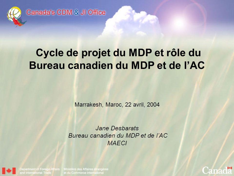 Cycle de projet du MDP et rôle du Bureau canadien du MDP et de lAC Marrakesh, Maroc, 22 avril, 2004 Jane Desbarats Bureau canadien du MDP et de lAC MAECI