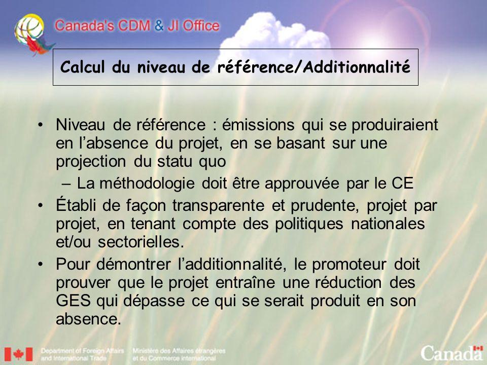 Niveau de référence : émissions qui se produiraient en labsence du projet, en se basant sur une projection du statu quo –La méthodologie doit être app