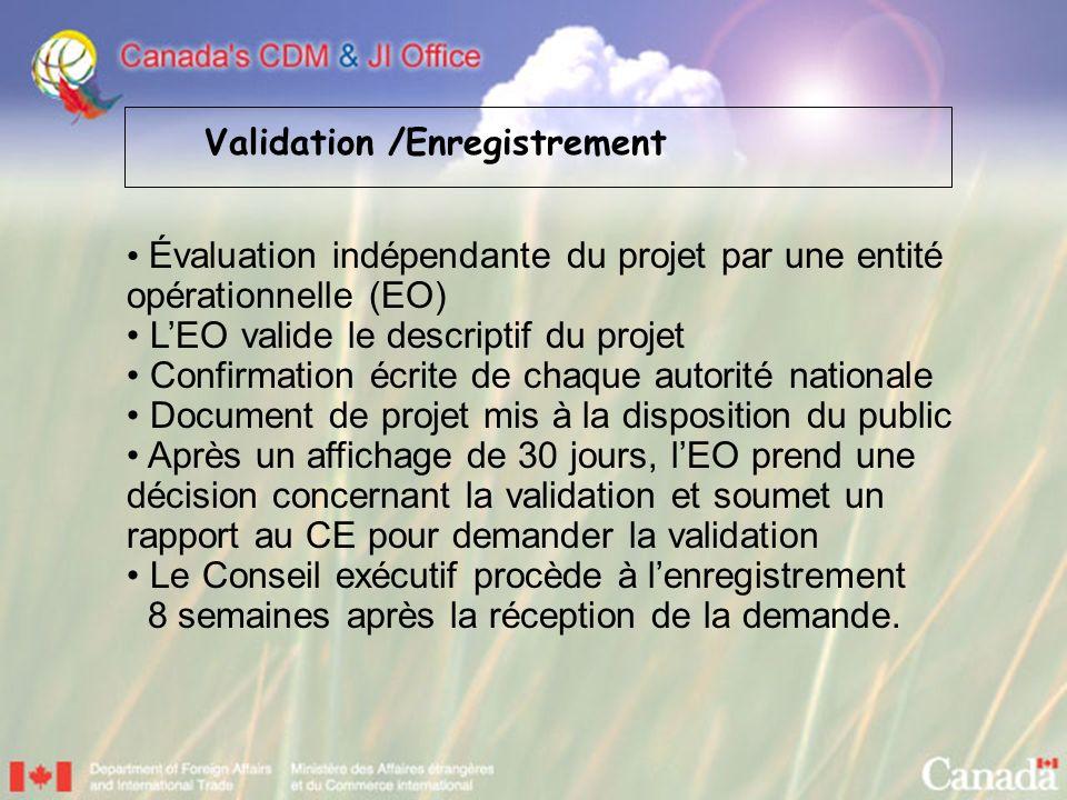 Évaluation indépendante du projet par une entité opérationnelle (EO) LEO valide le descriptif du projet Confirmation écrite de chaque autorité nationa