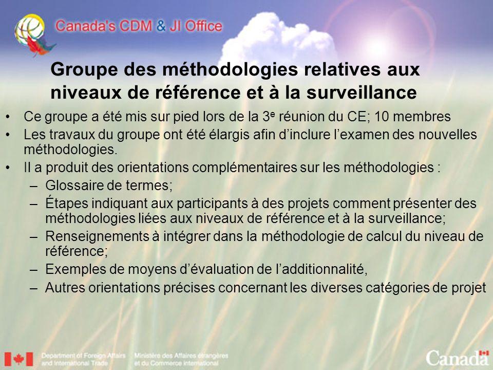 Groupe des méthodologies relatives aux niveaux de référence et à la surveillance Ce groupe a été mis sur pied lors de la 3 e réunion du CE; 10 membres