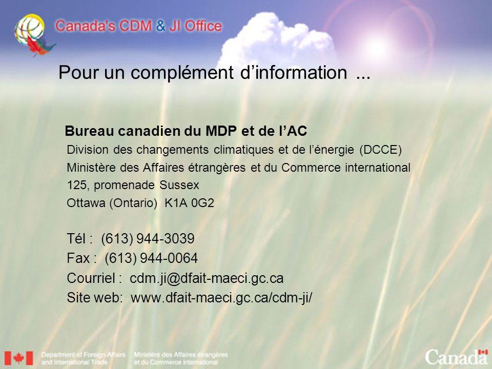 Pour un complément dinformation... Bureau canadien du MDP et de lAC Division des changements climatiques et de lénergie (DCCE) Ministère des Affaires