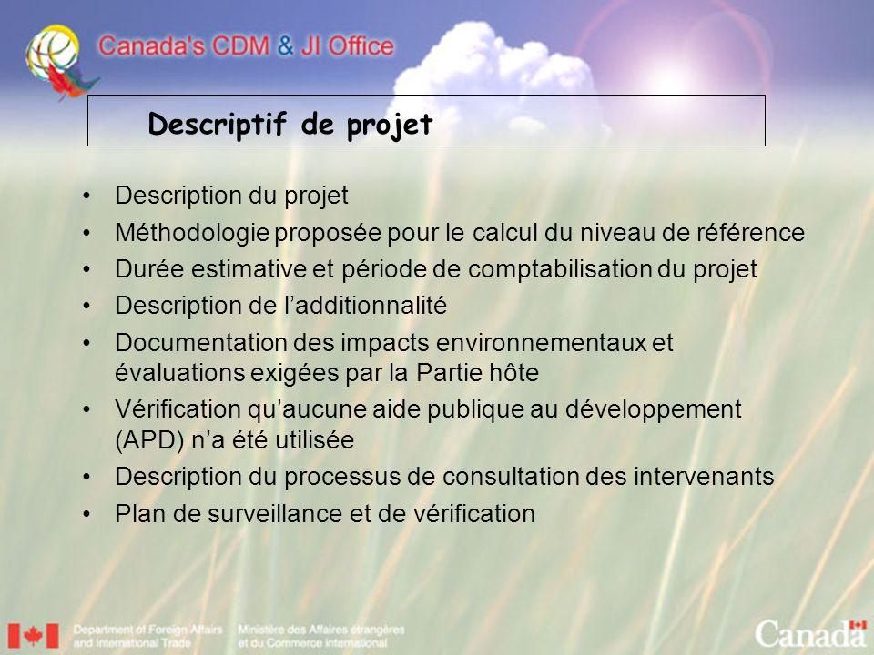 Description du projet Méthodologie proposée pour le calcul du niveau de référence Durée estimative et période de comptabilisation du projet Descriptio