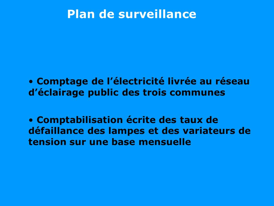 Plan de surveillance Comptage de lélectricité livrée au réseau déclairage public des trois communes Comptabilisation écrite des taux de défaillance des lampes et des variateurs de tension sur une base mensuelle