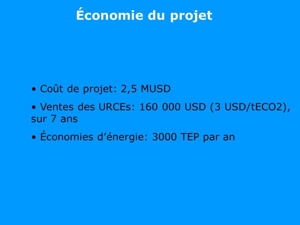 Coût de projet: 2,5 MUSD Ventes des URCEs: 160 000 USD (3 USD/tECO2), sur 7 ans Économies dénergie: 3000 TEP par an Économie du projet