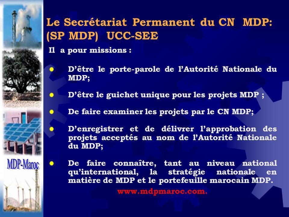 Le Secrétariat Permanent du CN MDP: (SP MDP) UCC-SEE Il a pour missions : Dêtre le porte-parole de lAutorité Nationale du MDP; Dêtre le guichet unique