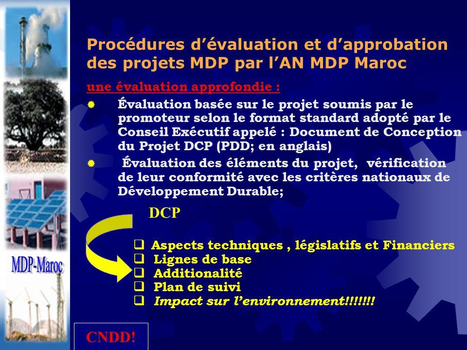 Aspects techniques, législatifs et Financiers Lignes de base Additionalité Plan de suivi Impact sur lenvironnement!!!!!!! Procédures dévaluation et da