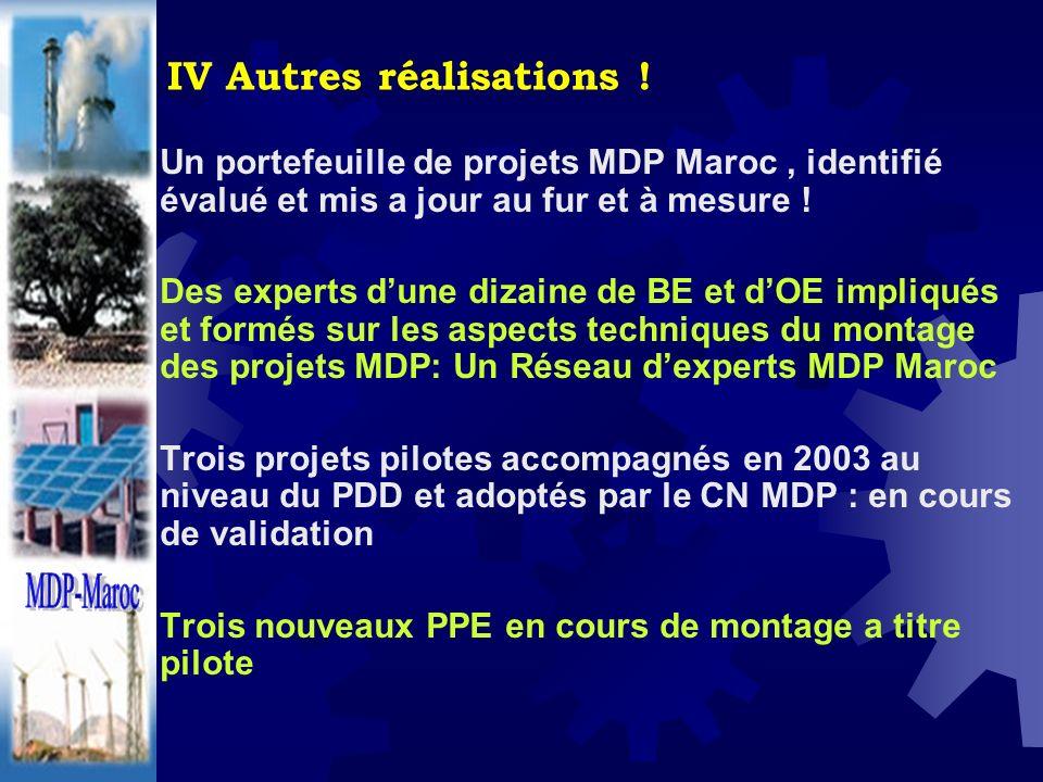 IV Autres réalisations ! Un portefeuille de projets MDP Maroc, identifié évalué et mis a jour au fur et à mesure ! Des experts dune dizaine de BE et d