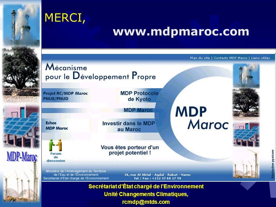 MERCI, www.mdpmaroc.com Secrétariat dÉtat chargé de lEnvironnement Unité Changements Climatiques, rcmdp@mtds.com