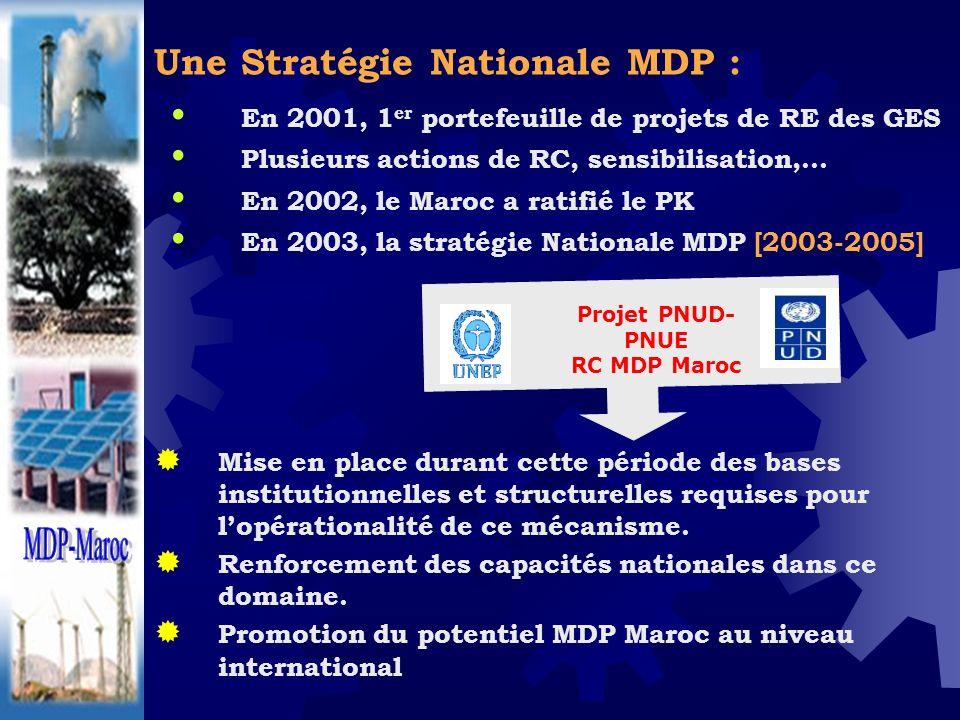 Une Stratégie Nationale MDP : Mise en place durant cette période des bases institutionnelles et structurelles requises pour lopérationalité de ce méca