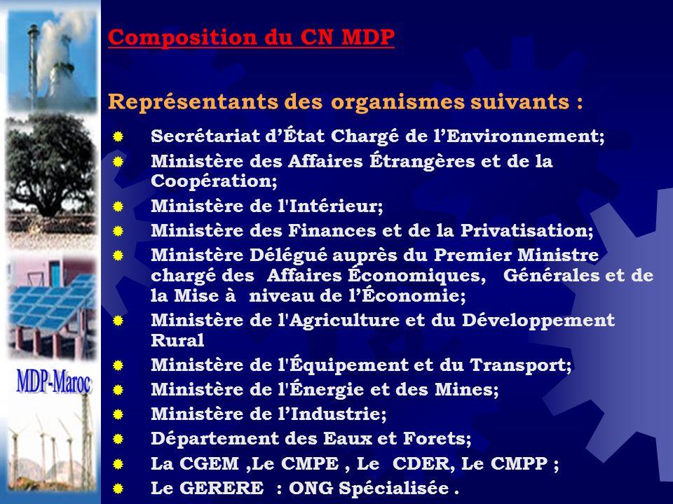 Composition du CN MDP Représentants des organismes suivants : Secrétariat dÉtat Chargé de lEnvironnement; Ministère des Affaires Étrangères et de la C