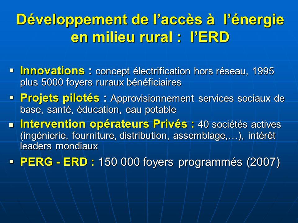 Développement de laccès à lénergie en milieu rural : lERD Innovations : concept électrification hors réseau, 1995 plus 5000 foyers ruraux bénéficiaire