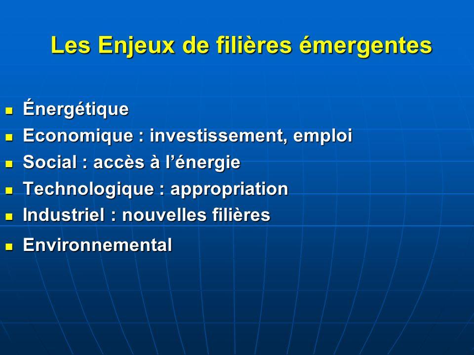 Les Enjeux de filières émergentes Énergétique Énergétique Economique : investissement, emploi Economique : investissement, emploi Social : accès à lén