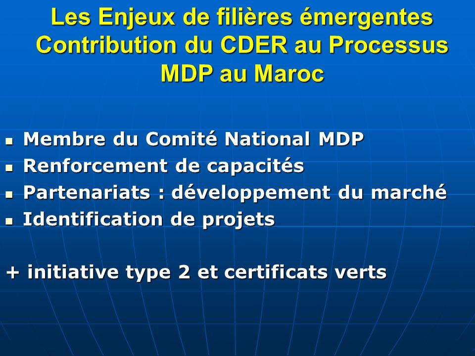 Les Enjeux de filières émergentes Contribution du CDER au Processus MDP au Maroc Membre du Comité National MDP Membre du Comité National MDP Renforcem