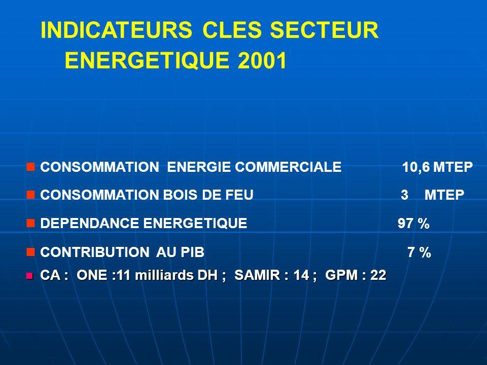 INDICATEURS CLES SECTEUR ENERGETIQUE 2001 CONSOMMATION ENERGIE COMMERCIALE 10,6 MTEP CONSOMMATION BOIS DE FEU 3 MTEP DEPENDANCE ENERGETIQUE 97 % CONTR