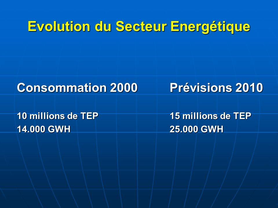 Evolution du Secteur Energétique Consommation 2000Prévisions 2010 10 millions de TEP15 millions de TEP 14.000 GWH25.000 GWH