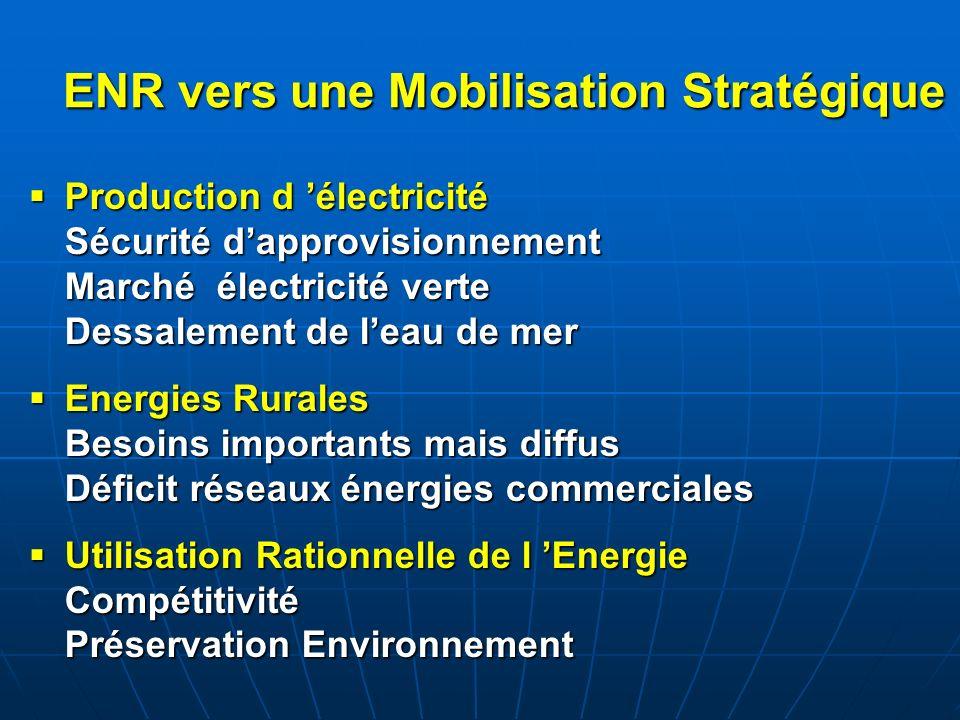 ENR vers une Mobilisation Stratégique Production d électricité Sécurité dapprovisionnement Marché électricité verte Dessalement de leau de mer Product