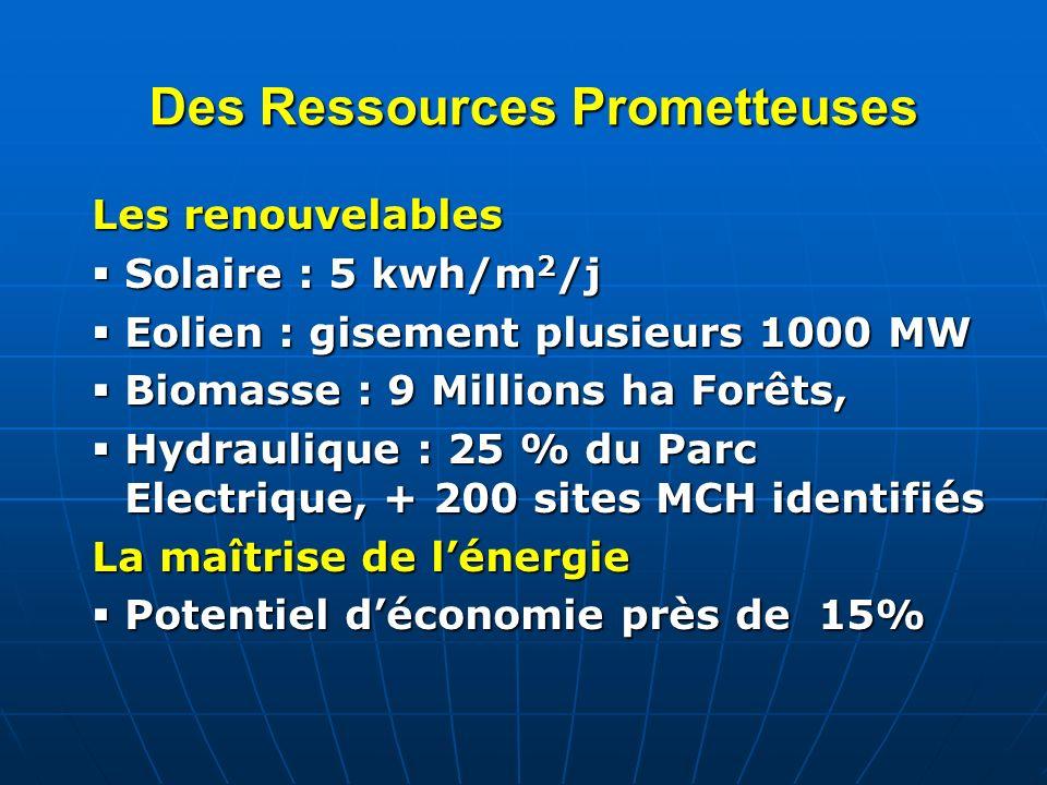 Des Ressources Prometteuses Les renouvelables Solaire : 5 kwh/m 2 /j Solaire : 5 kwh/m 2 /j Eolien : gisement plusieurs 1000 MW Eolien : gisement plus