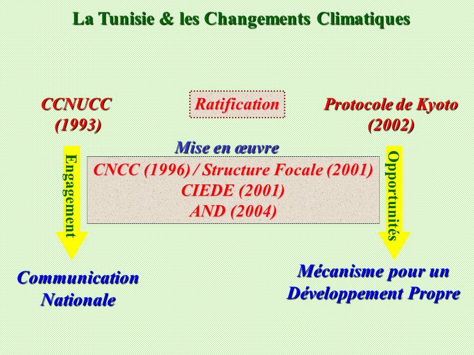 La Tunisie & les Changements Climatiques Ratification CCNUCC(1993) Protocole de Kyoto (2002) Engagement Opportunités CNCC (1996) / Structure Focale (2001) CIEDE (2001) AND (2004) Mise en œuvre CommunicationNationale Mécanisme pour un Développement Propre