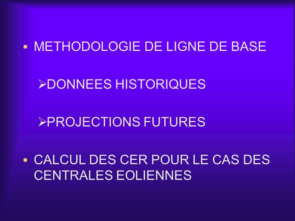 METHODOLOGIE DE LIGNE DE BASE DONNEES HISTORIQUES PROJECTIONS FUTURES CALCUL DES CER POUR LE CAS DES CENTRALES EOLIENNES