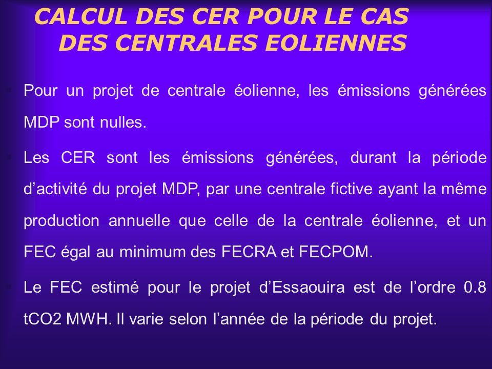 CALCUL DES CER POUR LE CAS DES CENTRALES EOLIENNES Pour un projet de centrale éolienne, les émissions générées MDP sont nulles. Les CER sont les émiss