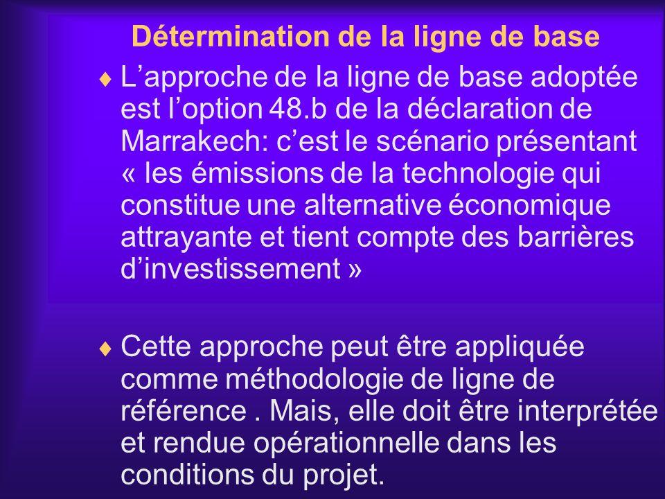 Détermination de la ligne de base Lapproche de la ligne de base adoptée est loption 48.b de la déclaration de Marrakech: cest le scénario présentant «