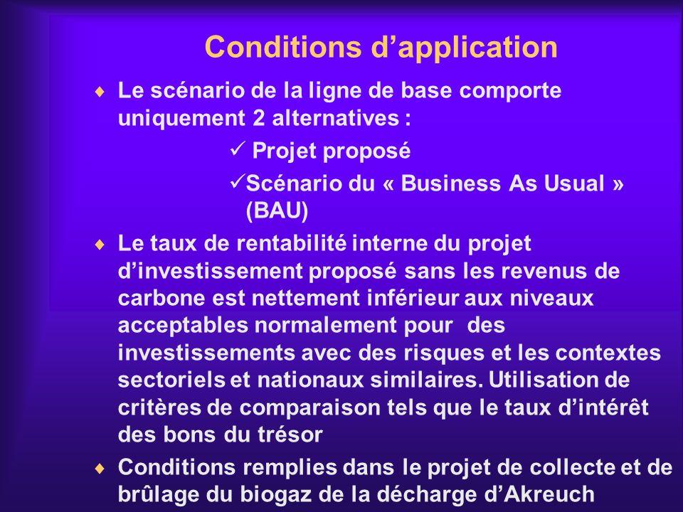 Conditions dapplication Le scénario de la ligne de base comporte uniquement 2 alternatives : Projet proposé Scénario du « Business As Usual » (BAU) Le
