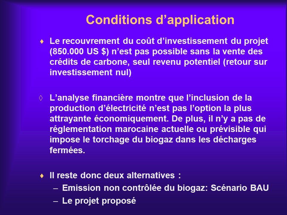 Le recouvrement du coût dinvestissement du projet (850.000 US $) nest pas possible sans la vente des crédits de carbone, seul revenu potentiel (retour