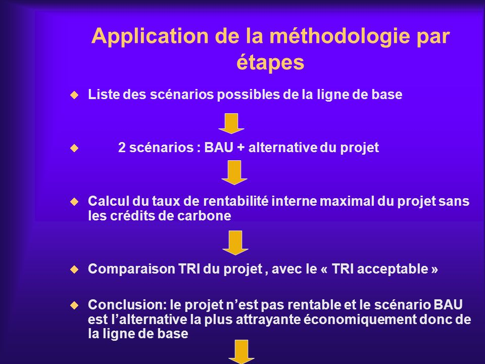 Application de la méthodologie par étapes Liste des scénarios possibles de la ligne de base 2 scénarios : BAU + alternative du projet Calcul du taux d
