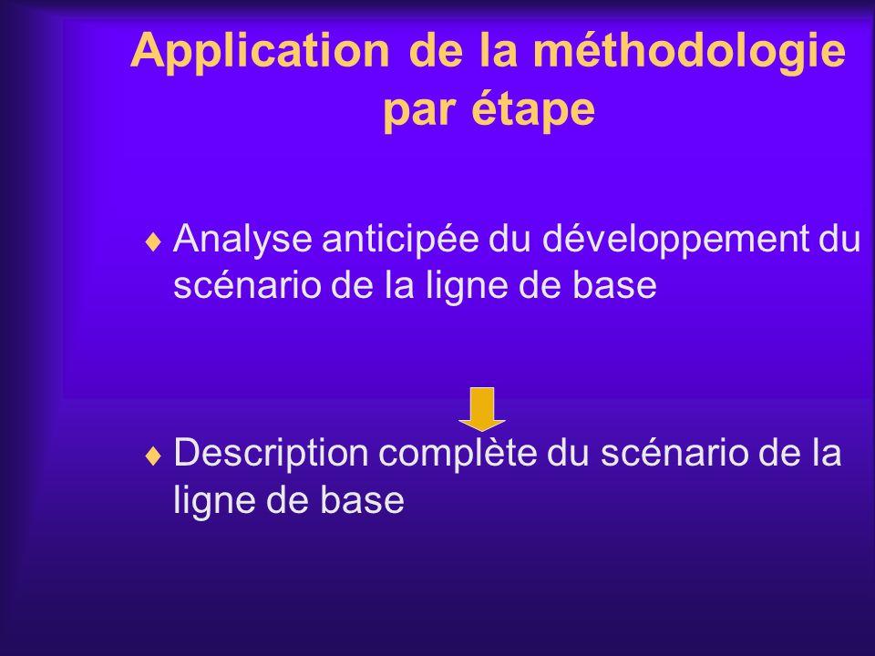 Application de la méthodologie par étape Analyse anticipée du développement du scénario de la ligne de base Description complète du scénario de la lig