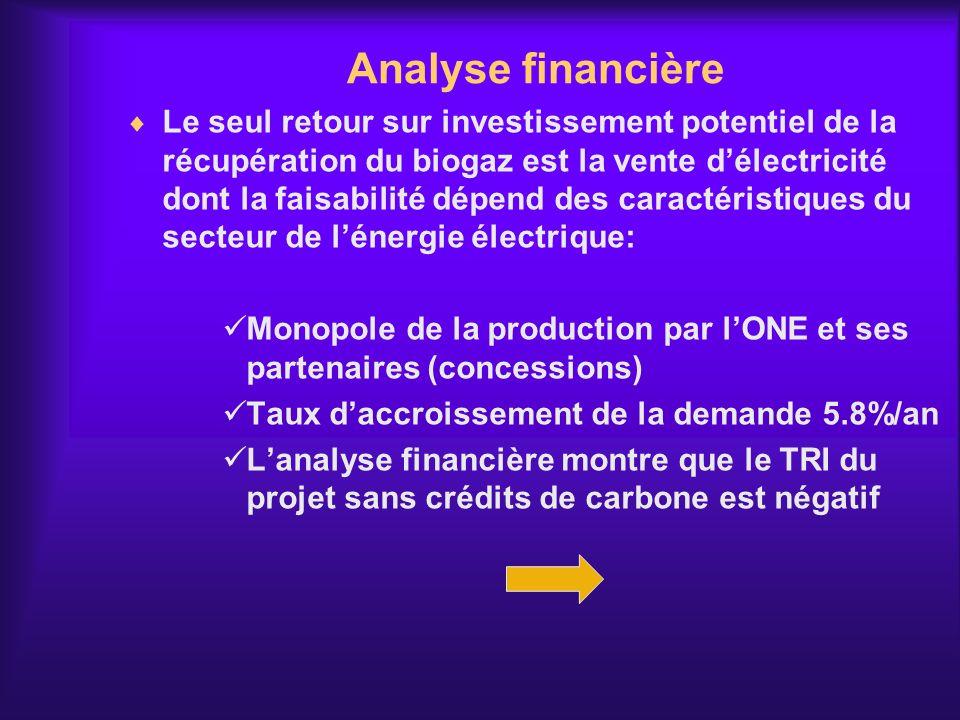 Analyse financière Le seul retour sur investissement potentiel de la récupération du biogaz est la vente délectricité dont la faisabilité dépend des c