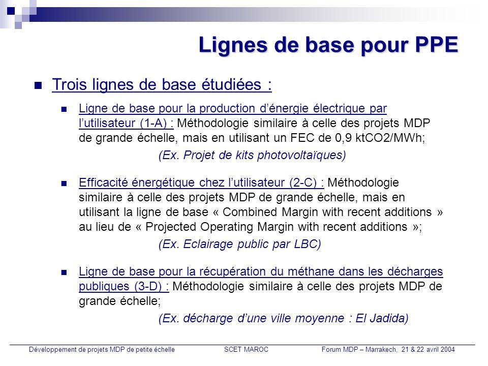 Lignes de base pour PPE Trois lignes de base étudiées : Développement de projets MDP de petite échelleSCET MAROCForum MDP – Marrakech, 21 & 22 avril 2