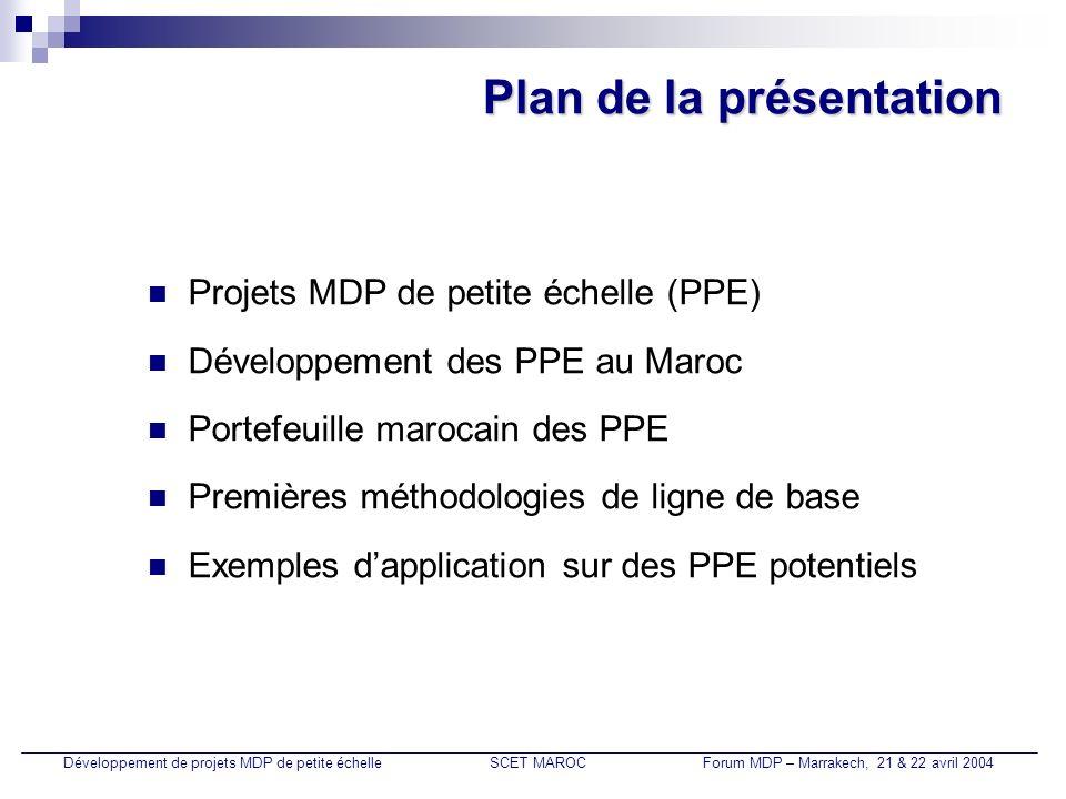 Eclairage public par LBC Développement de projets MDP de petite échelleSCET MAROCForum MDP – Marrakech, 21 & 22 avril 2004 Installation de 15.000 lampes à basse consommation (200 W) en remplacement de lampes 250 W, soit une économie de 3 GWh/an, pour un fonctionnement de 11 h/j; Ligne de base : Utilisation du FEC pondéré par la production de toutes les centrales électriques existantes, combiné à celui des centrales les plus récentes, totalisant plus de 20% de la capacité de production.