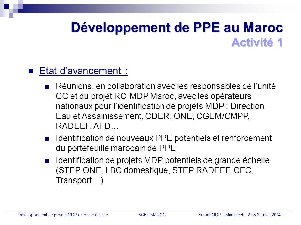 Portefeuille marocain de PPE Développement de projets MDP de petite échelleSCET MAROCForum MDP – Marrakech, 21 & 22 avril 2004 N°TypeIntitulé du ProjetPromoteur du projetTaille du projet 1 1 – A Production d électricité par les kits photovoltaïquesONE100.000 kits (7 MW) 2Production d électricité par les microcentrales hydrauliquesONE 3Centrale hydraulique dun petit barrageONE - DGH 4Projet éolien pour la station de dessalement de Tan TanONEP - CDERInstallation éolienne de 10 MW.