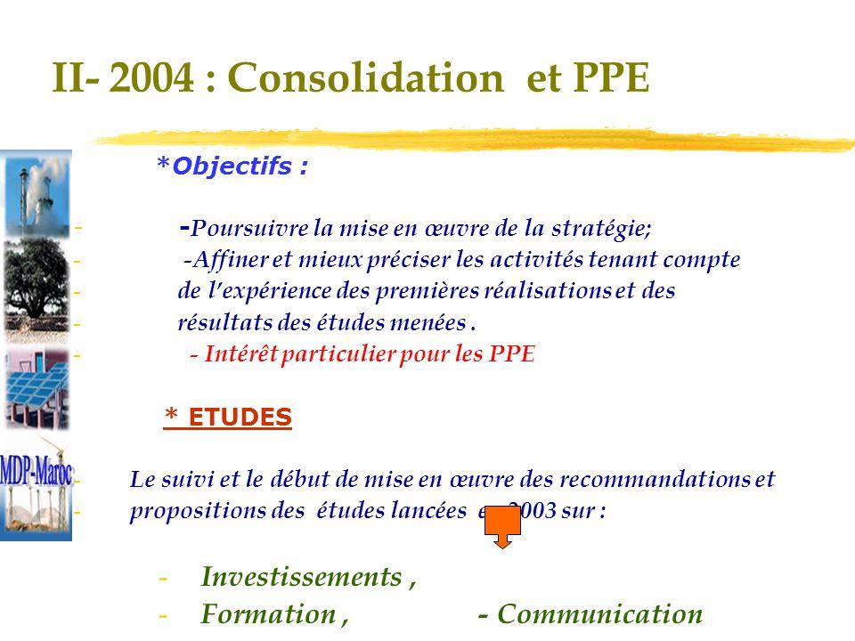 II- 2004 : Consolidation et PPE *Objectifs : - - Poursuivre la mise en œuvre de la stratégie; - -Affiner et mieux préciser les activités tenant compte - de lexpérience des premières réalisations et des - résultats des études menées.