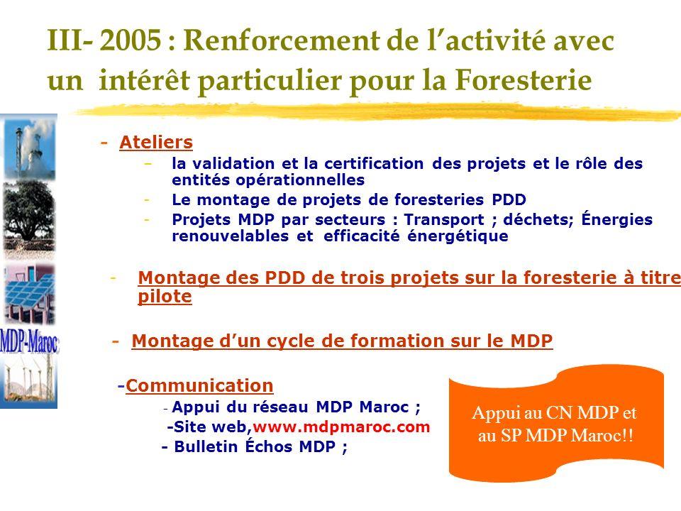 III- 2005 : Renforcement de lactivité avec un intérêt particulier pour la Foresterie - Ateliers –la validation et la certification des projets et le rôle des entités opérationnelles -Le montage de projets de foresteries PDD -Projets MDP par secteurs : Transport ; déchets; Énergies renouvelables et efficacité énergétique -Montage des PDD de trois projets sur la foresterie à titre pilote - Montage dun cycle de formation sur le MDP -Communication - Appui du réseau MDP Maroc ; -Site web,www.mdpmaroc.com - Bulletin Échos MDP ; Appui au CN MDP et au SP MDP Maroc!!