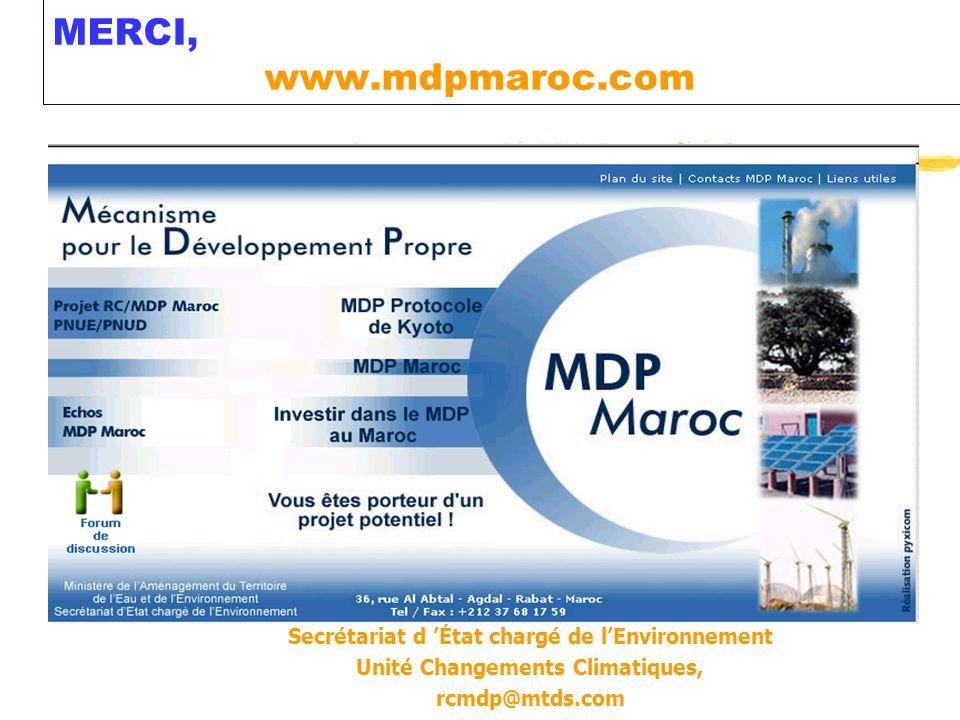 MERCI, www.mdpmaroc.com Secrétariat d État chargé de lEnvironnement Unité Changements Climatiques, rcmdp@mtds.com