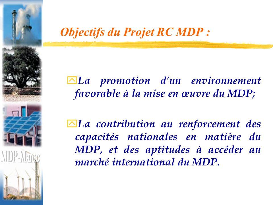 Objectifs du Projet RC MDP : y La promotion dun environnement favorable à la mise en œuvre du MDP; y La contribution au renforcement des capacités nationales en matière du MDP, et des aptitudes à accéder au marché international du MDP.