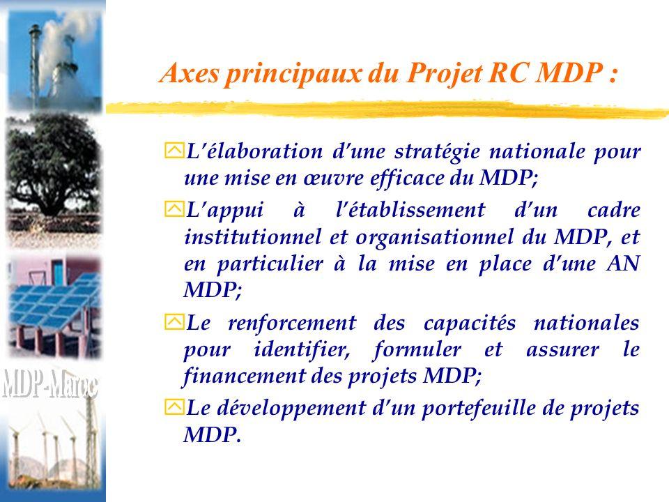 Axes principaux du Projet RC MDP : y Lélaboration dune stratégie nationale pour une mise en œuvre efficace du MDP; y Lappui à létablissement dun cadre institutionnel et organisationnel du MDP, et en particulier à la mise en place dune AN MDP; y Le renforcement des capacités nationales pour identifier, formuler et assurer le financement des projets MDP; y Le développement dun portefeuille de projets MDP.